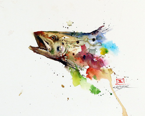 """""""ABSTRACT TROUT"""" signed and numbered limited edition giclee' print from an original watercolor painting by Dean Crouser. Signed and numbered, edition limited to 400 prints. Also available in tiles, coasters, cutting boards and more."""