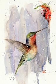 """""""WINTER HUMMER"""" hummingbird art from an original watercolor painting by Dean Crouser. Available in a variety of products including signed and numbered limited edition prints, ceramic tiles, greeting cards and more!"""