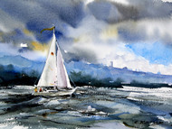 """HEADING IN"" sailboat art from an original sailing painting by Dean Crouser. Available in signed and numbered limited edition prints, ceramic tiles and coasters, greeting cards and more."