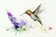 """HUMMINGBIRD & BUTTERFLY BUSH"" from an original watercolor painting by Dean Crouser. Available in a variety of products including limited edition prints, ceramic tiles and coasters, greeting cards and more. The prints are signed and numbered and limited to 400 prints. The largest 24 x 36"" size is available for U.S. shipping only not available for international shipments as it exceeds size restrictions."