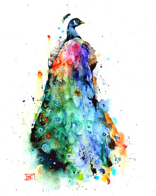 """""""RAINBOW PEACOCK"""" bird art available in a variety of products including signed and numbered prints, ceramic tiles and coasters, greeting cards and more.  Lots of color and motion in this peacock print - hope you enjoy it.  Limited edition giclee' prints are signed and numbered by the artist. Edition limited to 400 prints. This image is portrait orientation (taller than it is wide)."""