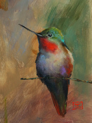 'GLORY' is a bit of a departure from Dean's typical watercolors as he painted this hummer with acrylics. A little hummingbird that appeared in late February to visit garden flowers that wintered over provided the inspiration for this painting.  Available in a variety of products including signed and numbered prints, ceramic tiles and coasters, greeting cards and more. S/N limited prints limited to 400 prints in series.