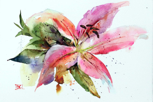 """STARGAZER LILY"" floral art from an original watercolor painting by Dean Crouser. Available in a variety of products including limited edition prints, ceramic tiles and coasters, greeting cards and more. Prints are signed and numbered by therapist and edition limited to 400 prints."
