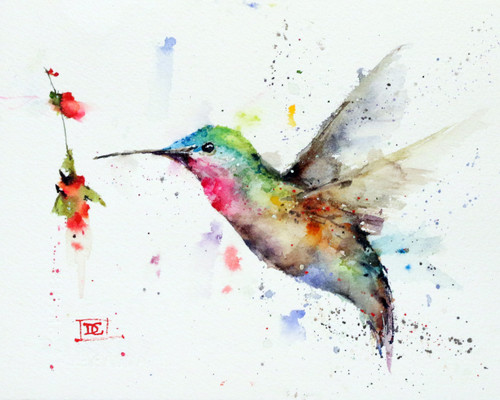 """HUMMINGBIRD with FLOWER, Sketch"" original watercolor painting by Dean Crouser. This original painting measures approximately 7-1/2"" wide by 6"" tall. here's a great opportunity to own a DC original! Artist retains all rights to future use of this painting. Copyright Dean Crouser©. Thanks for looking!"