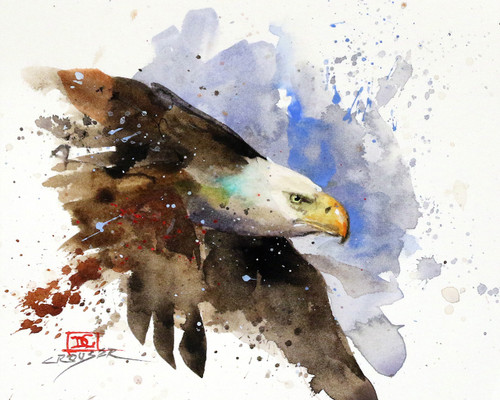 """""""BALD EAGLE"""" bird art from an original watercolor painting by Dean Crouser. Available in a variety of products including limited edition prints, tiles, coasters and greeting cards. Limited edition prints are signed and numbered with edition size limited to 400 prints."""