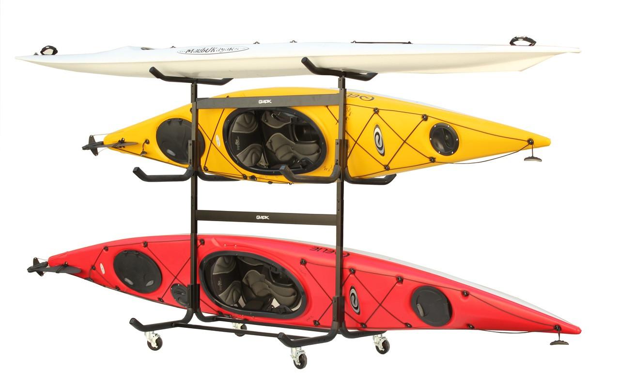 Freestanding Steel 5 Kayak Rack With Wheels