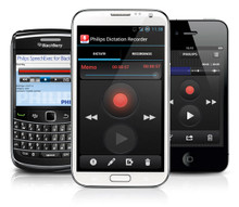 Philips LFH7400 SpeechExec Dictation Recorder App for iPhone, Android and Blackberry