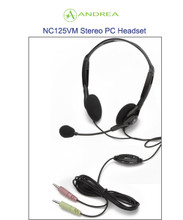 Andrea NC-125VM Stereo PC Headset with Noise Canceling Microphone and Volume and Mute Control