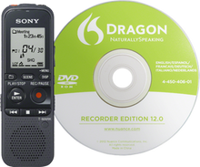 Sony ICD-PX333D Digital Flash Voice Recorder + Dragon Naturally Speaking Software