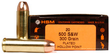 HSM 500 S&W 300gr Copper Plated HP Ammo - 20 Rounds