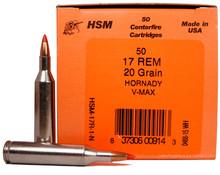 HSM 17 Remington 20gr V-MAX ™ Ammo - 50 Rounds