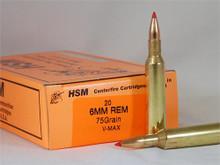 HSM 6 MM Remington 75gr V-MAX™ Ammo - 20 Rounds