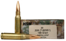 HSM 7.62x51mm 168gr BTHP Sierra Match Ammo - 20 Rounds