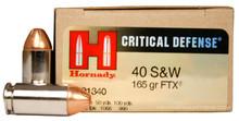 Hornady 40 S&W 165gr  FTX® Critical Defense Ammo - 20 Rounds