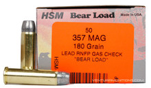 HSM 357 Magnum 180gr RNFP Bear Load Ammo - 50 Rounds