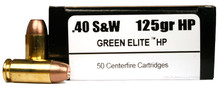 International Cartridge 40 S&W 125gr Green Elite HP Duty Frangible Ammo - 50 Rounds