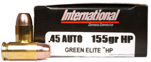 International Cartridge 45 ACP 155gr Green Elite HP Duty Frangible Ammo - 50 Rounds