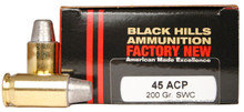 Black Hills 45 ACP 200gr SWC Ammo - 20 Rounds