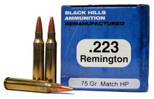 Black Hills 223 Remington 75gr Heavy Match HP Remanufactured Ammo - 50 Rounds
