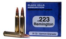 223 Remington 36 Grain Varmint Grenade Black Hills Ammunition Remanufactured
