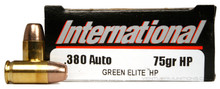 International Cartridge 380 ACP 75gr Green Elite HP Duty Frangible Ammo - 50 Rounds