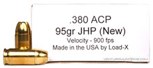 Load-X 380 ACP 95gr JHP Home Defense Ammo - 50 Rounds
