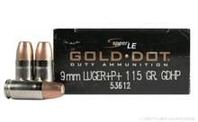 Speer LE 9mm Luger 115gr +P+ LE Gold Dot HP - 50 Rounds