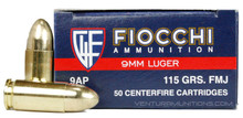 Fiocchi Shooting Dynamics 9mm Luger 115gr FMJ Ammo - 50 Rounds