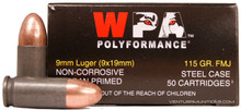 Wolf Polyformance 9mm 115gr FMJ Ammo - 50 Rounds