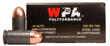Wolf Polyformance .45 ACP 230gr FMJ Ammo - 50 Rounds