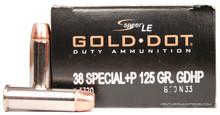 Speer .38 Special 125gr +P Gold Dot GDHP - 50 Rounds