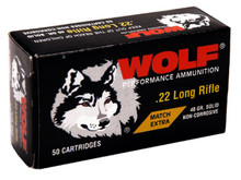Wolf Match Extra 22LR 40gr RN Ammo - 50 Rounds