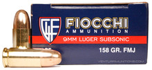 Fiocchi 9mm 158gr FMJ Ammo - 50 Rounds