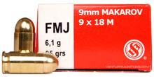 Sellier & Bellot 9mm Makarov 95gr FMJ Ammo - 50 Rounds