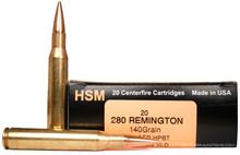 HSM 280 Remington 140gr Berger VLD HPBT Ammo - 20 Rounds