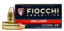 Fiocchi Shooting Dynamics 9mm 115gr JHP Ammo - 50 Rounds