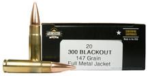 Armscor 300 Blackout 147gr FMJ Ammo - 20 Rounds