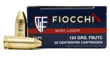 Fiocchi Shooting Dynamics 9mm 124gr FMJTC Ammo - 50 Rounds