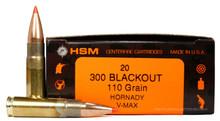 HSM 300 Blackout 110gr V-Max Ammo - 20 Rounds