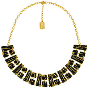 Karine Sultan Black & Gold Geometric Collar Necklace