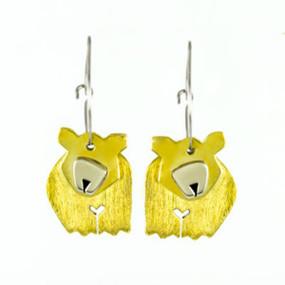 Dancing Bear Hoop Earrings