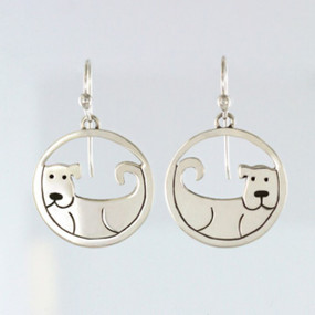 Cut-Out Sterling Silver Dog Earrings