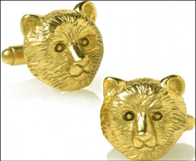 Bear Head Cufflinks in 24k Gold-plate