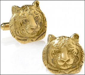 Gold Tiger Cufflinks Men's Jewelry