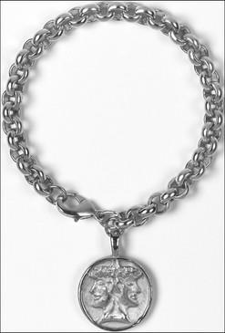 Etruscan Janus Charm Bracelet in Silverplate