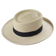 Men's Panama Planter - in Ivory with a black band and natural edging