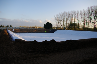 Reservoir constructed and lined with GSM Textile