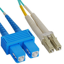 OM3 SC to LC Multimode Duplex Fiber Optic Cable - 1 meter