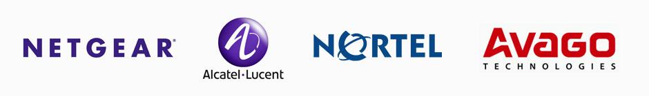 Netgear, Alcatel Lucent, Nortel, and Avago, Logos