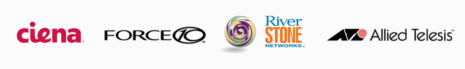 Ciena, Force 10, River Stone, and Allied Telesis Logos